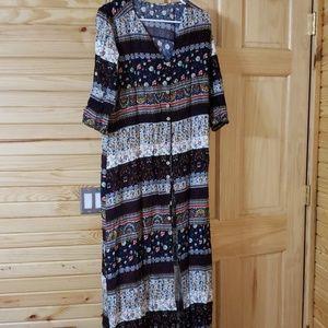 3/4 sleeve button front dress